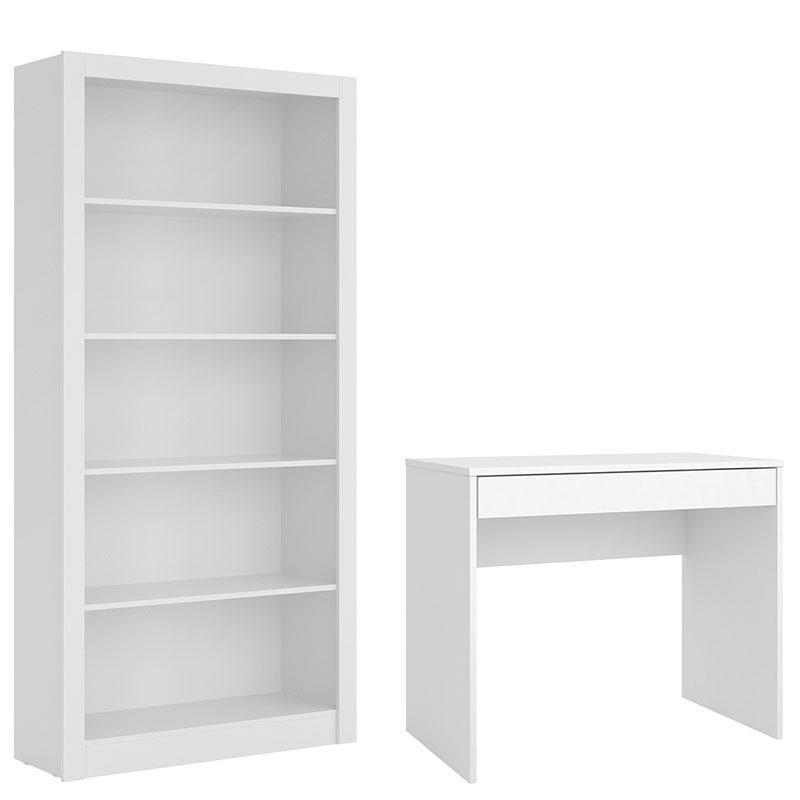 Escrivaninha Facility e Livreiro Presence Branco Brilho - Demóbile