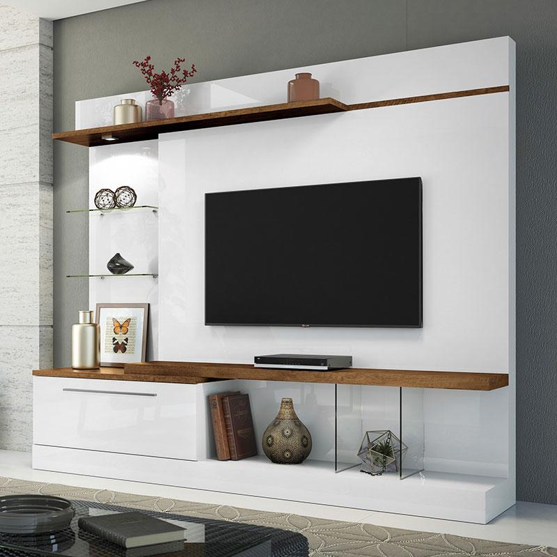 Estante Home Theater Allure Branco Canyon - HB Móveis
