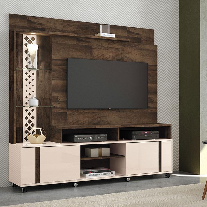 Estante Home Theater Vitral Deck Off White - HB Móveis