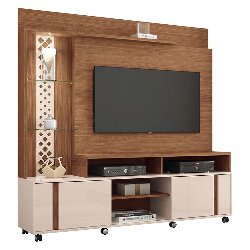 Estante Home Theater Vitral Nature Off White - HB Móveis