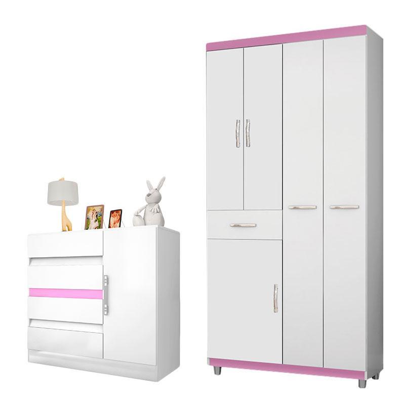 Guarda Roupa Infantil 1005 e Cômoda 8000 Branco Rosa Flex- Araplac