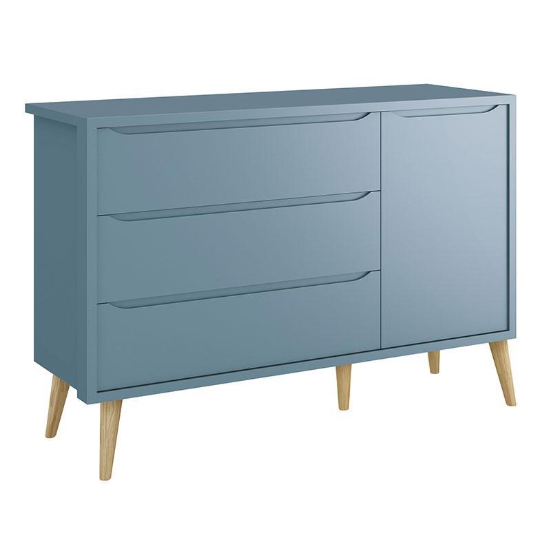 Guarda Roupa Infantil 3 Portas e Cômoda Theo 1 Porta Azul com Pés Madeira Natural - Reller