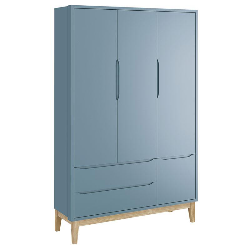 Guarda Roupa Infantil New Classic 3 Portas Azul com Pés Madeira Natural - Reller