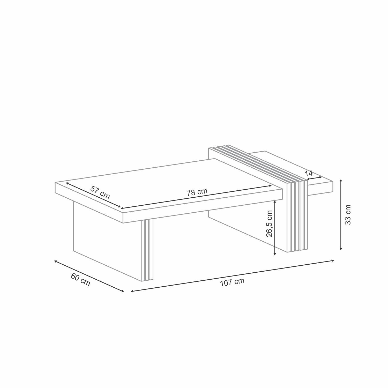 Mesa de Centro Luna Deck off White - HB Móveis