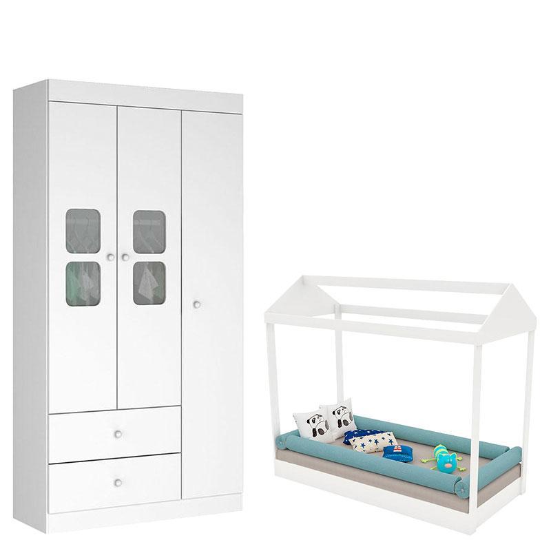 Mini Cama Montessoriana com Guarda Roupa Xodó 3 Portas Branco Brilho - Móveis Estrela