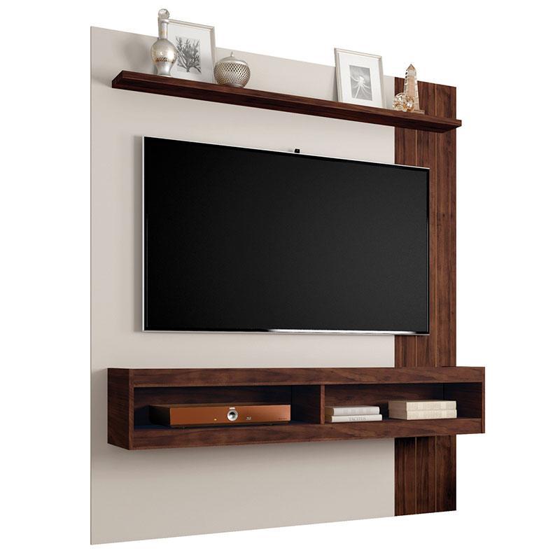 Painel Para Tv Norton 1.5 Off White Havana e Kit 2 Poltronas Decorativas Bella Bege - Caemmun