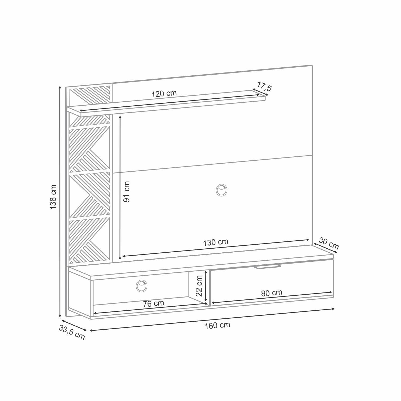 Painel Suspenso Grid Deck Off White - HB Móveis