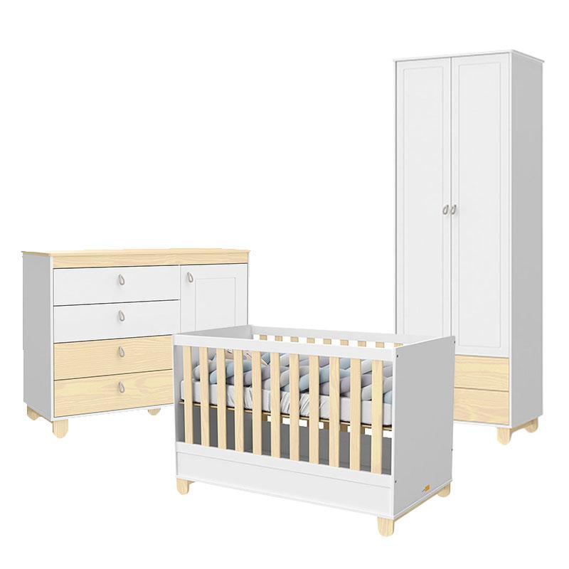 Quarto de Bebê 2 Portas Cômoda com Porta Rope Branco Acetinado Natural - Matic