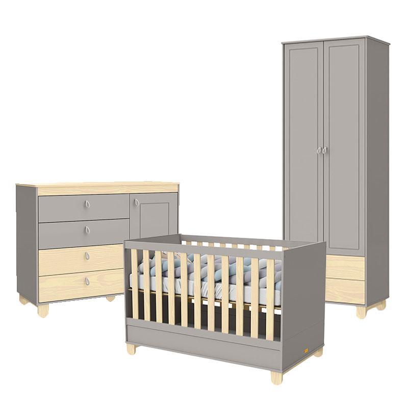 Quarto de Bebê 2 Portas Cômoda com Porta Rope Cinza Natural - Matic