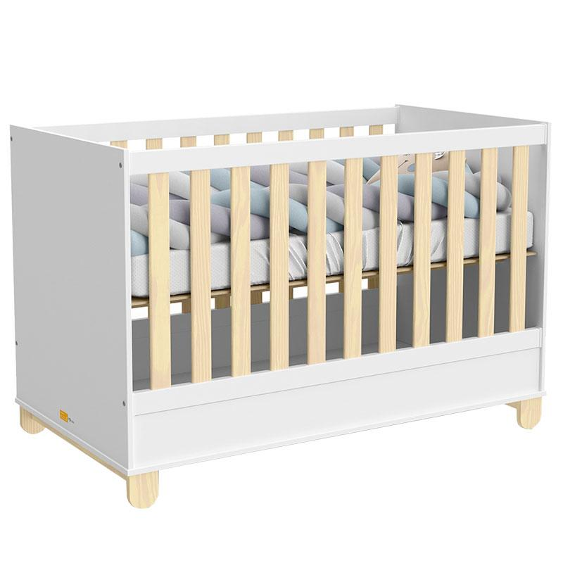 Quarto de Bebê 2 Portas Cômoda com Porta Rope Natural Branco Acetinado - Matic