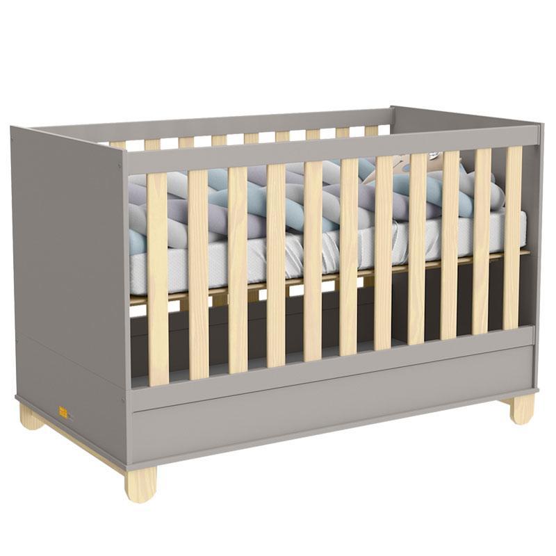 Quarto de Bebê 2 Portas Cômoda com Porta Rope Natural Cinza - Matic