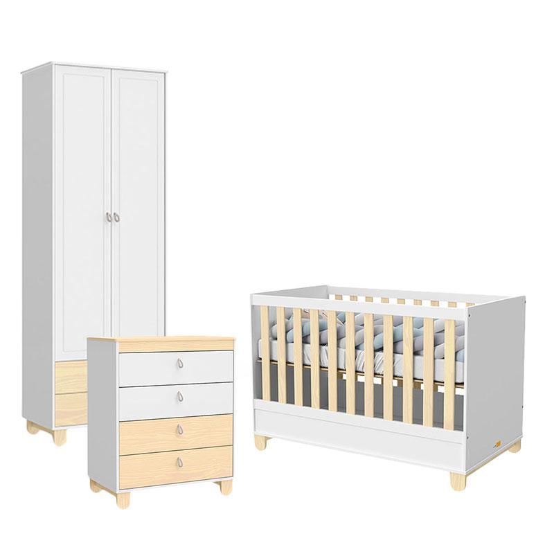 Quarto de Bebê 2 Portas Rope Branco Acetinado Natural - Matic