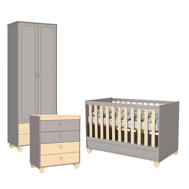 Quarto de Bebê 2 Portas Rope Cinza Natural - Matic