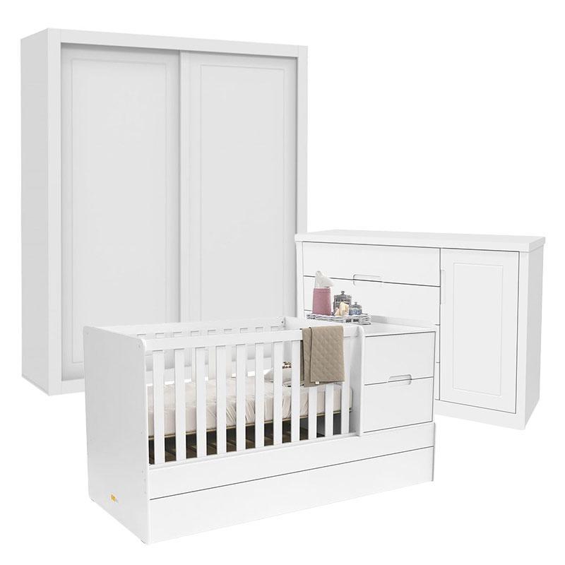 Quarto de Bebê 2 Portas Tutto New com Berço Multifuncional Formare Branco Acetinado - Matic