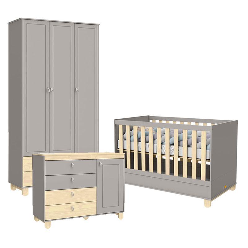 Quarto de Bebê 3 Portas Cômoda com Porta Rope Cinza Natural - Matic