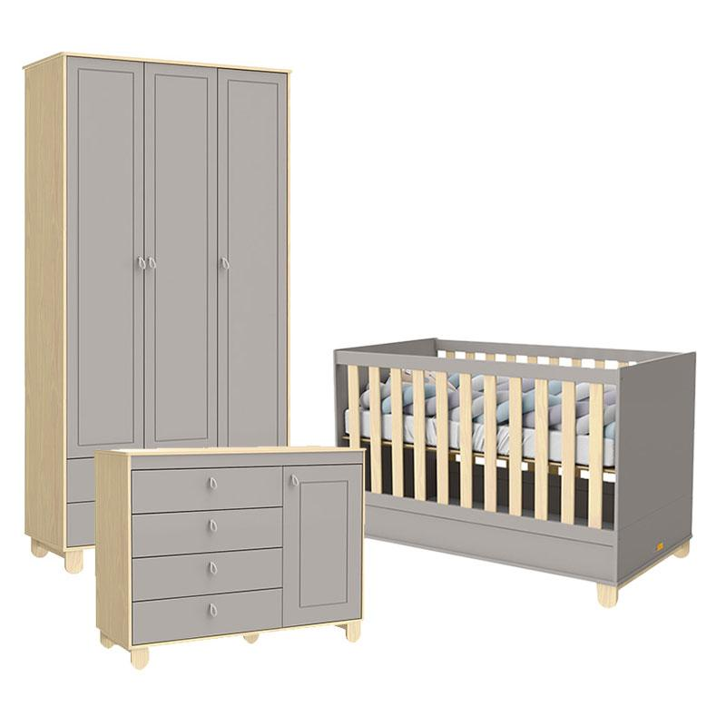 Quarto de Bebê 3 Portas Cômoda com Porta Rope Natural Cinza - Matic