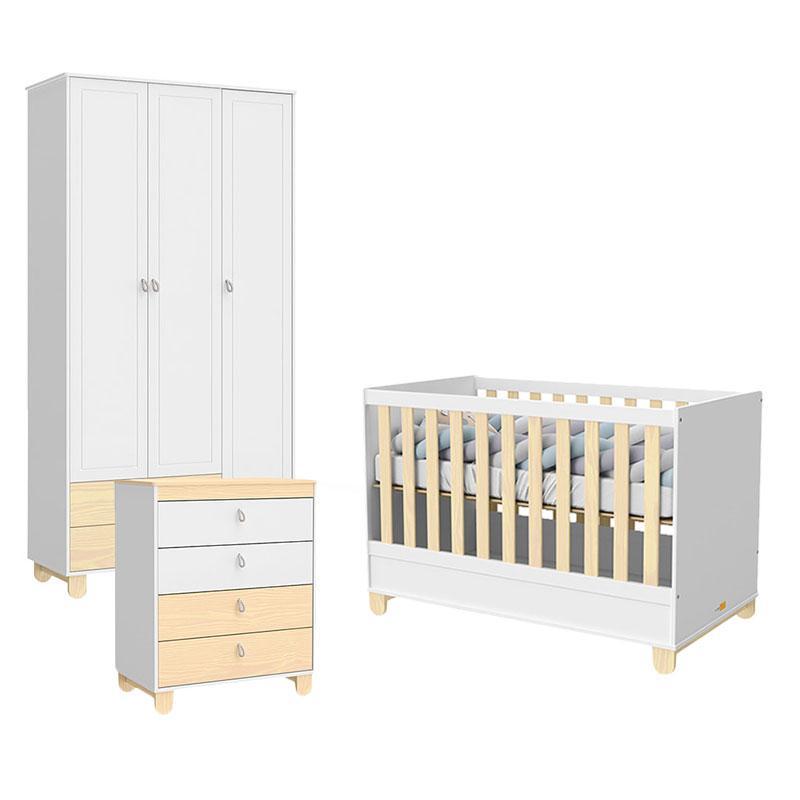 Quarto de Bebê 3 Portas Rope Branco Acetinado Natural - Matic