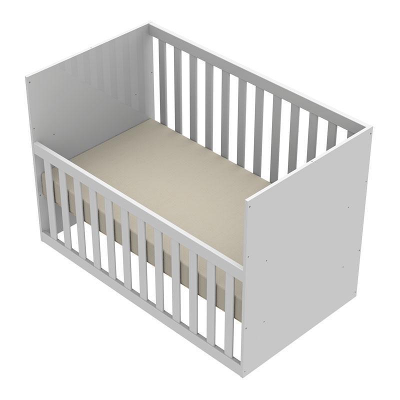 Quarto de Bebê 4 Portas com Gaveteiro Ariel e Berço Gabi Branco Brilho - Carolina