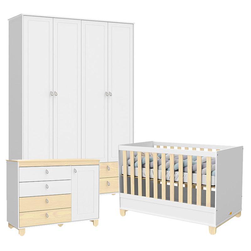 Quarto de Bebê 4 Portas Cômoda com Porta Rope Branco Acetinado Natural - Matic