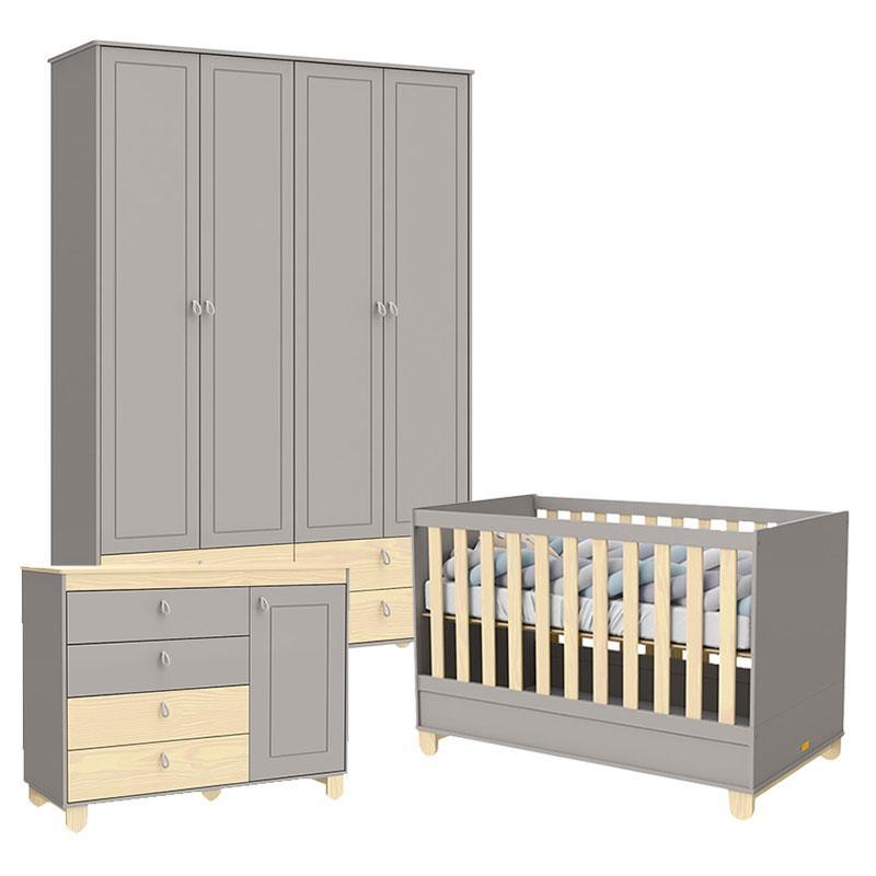 Quarto de Bebê 4 Portas Cômoda com Porta Rope Cinza Natural - Matic