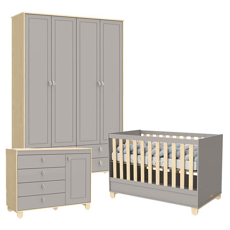 Quarto de Bebê 4 Portas Cômoda com Porta Rope Natural Cinza - Matic