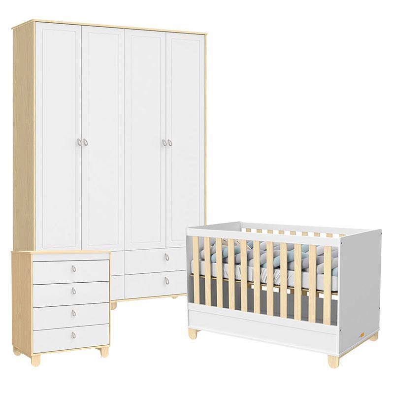 Quarto de Bebê 4 Portas Rope Natural Branco Acetinado - Matic