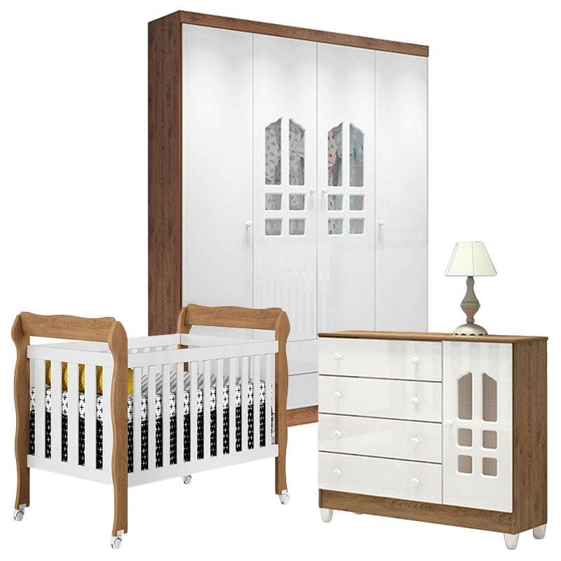 Quarto de Bebê 4 Portas Selena com Berço Americano Lila Branco Acetinado Amadeirado - Carolina Móveis