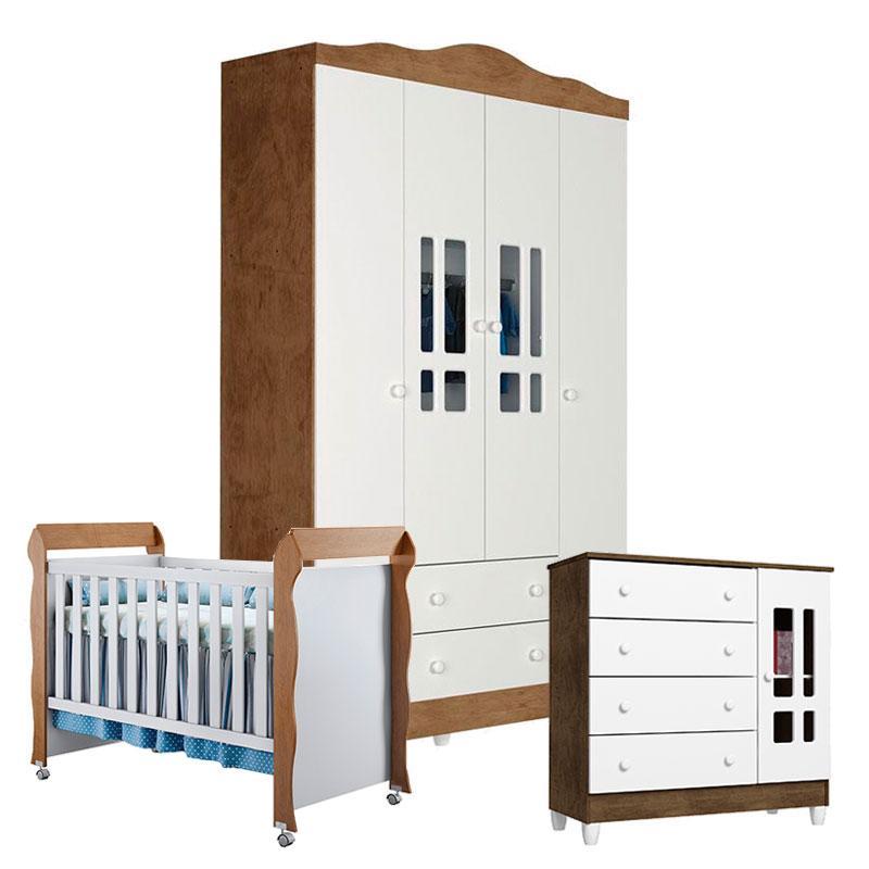 Quarto de Bebê Ariel 4 Portas com Berço Mirelle Branco Acetinado Amadeirado - Carolina
