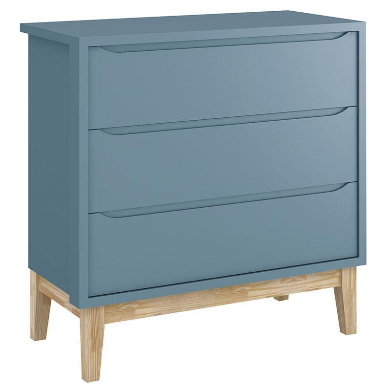 Quarto de Bebê Classic 2 Portas Azul com Pés Madeira Natural - Reller