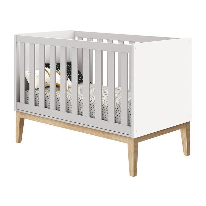 Quarto de Bebê Classic 2 Portas Branco com Pés Madeira Natural - Reller