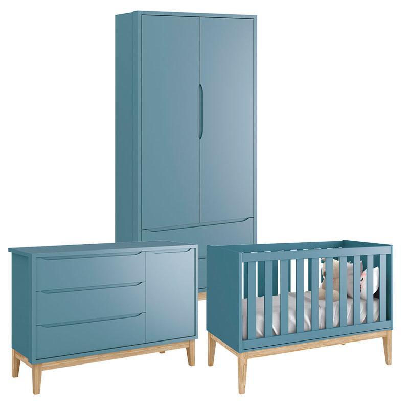 Quarto de Bebê Classic 2 Portas Cômoda com Porta Azul com Pés Madeira Natural - Reller