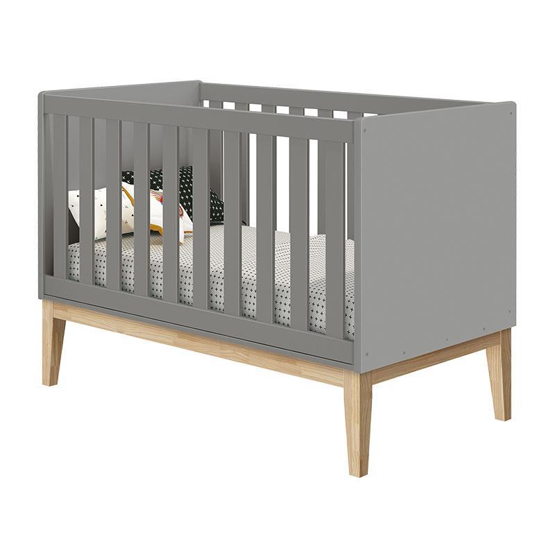 Quarto de Bebê Classic 2 Portas Cômoda com Porta Cinza com Pés Madeira Natural - Reller