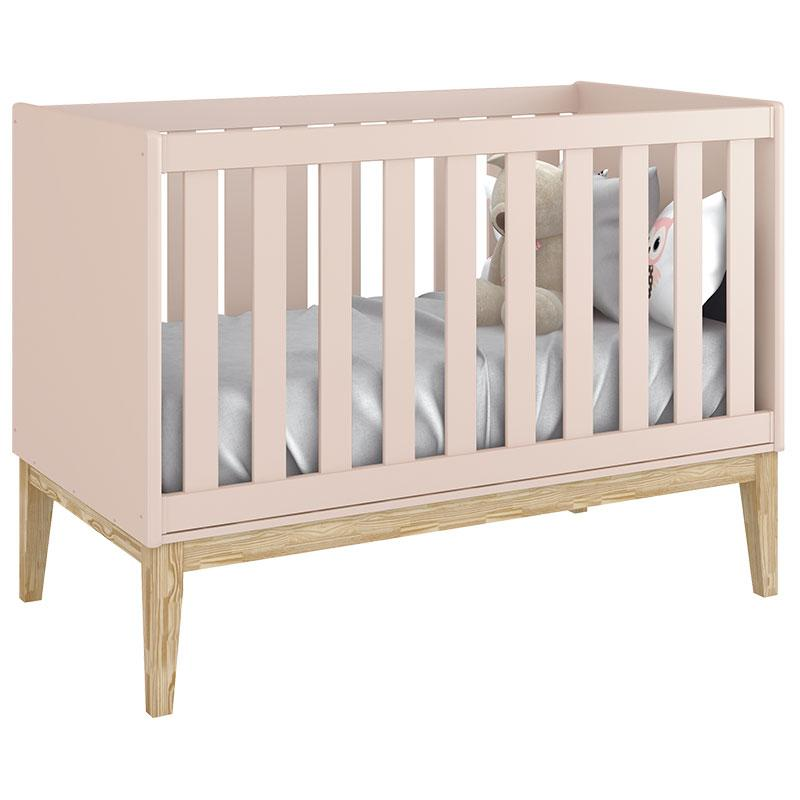 Quarto de Bebê Classic 2 Portas Cômoda com Porta Rosa com Pés Madeira Natural - Reller