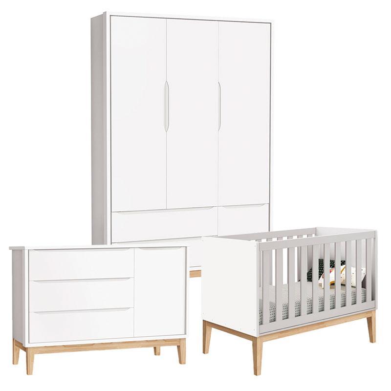 Quarto de Bebê Classic 3 Portas Cômoda com Porta Branco com Pés Madeira Natural - Reller