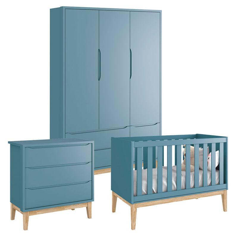 Quarto de Bebê Classic 3 Portas Cômoda Gaveteiro Azul com Pés Madeira Natural - Reller
