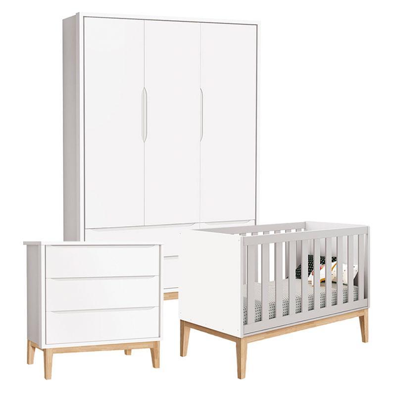 Quarto de Bebê Classic 3 Portas Cômoda Gaveteiro Branco com Pés Madeira Natural - Reller