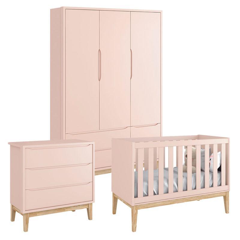 Quarto de Bebê Classic 3 Portas Cômoda Gaveteiro Rosa com Pés Madeira Natural - Reller