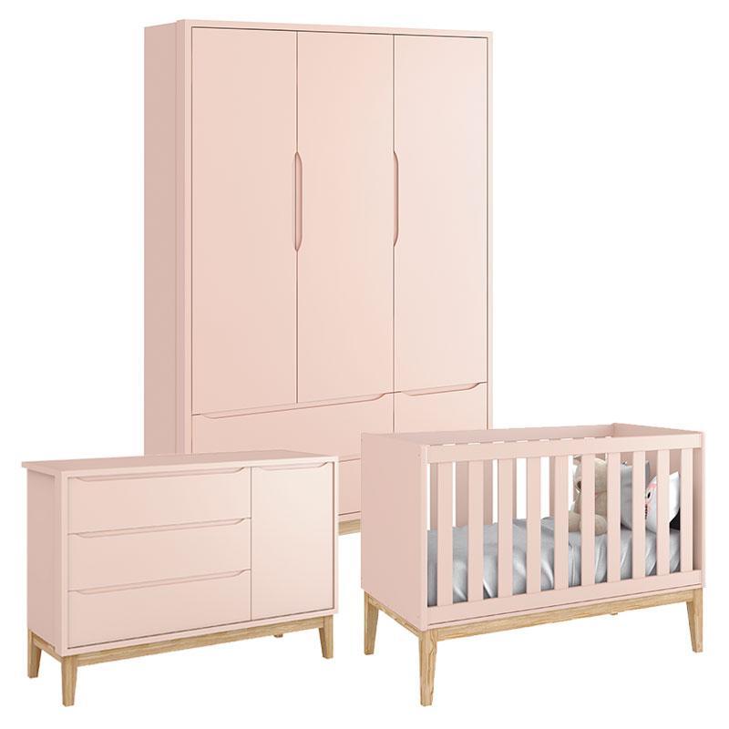 Quarto de Bebê Classic 3 Portas Rosa com Pés Madeira Natural - Reller