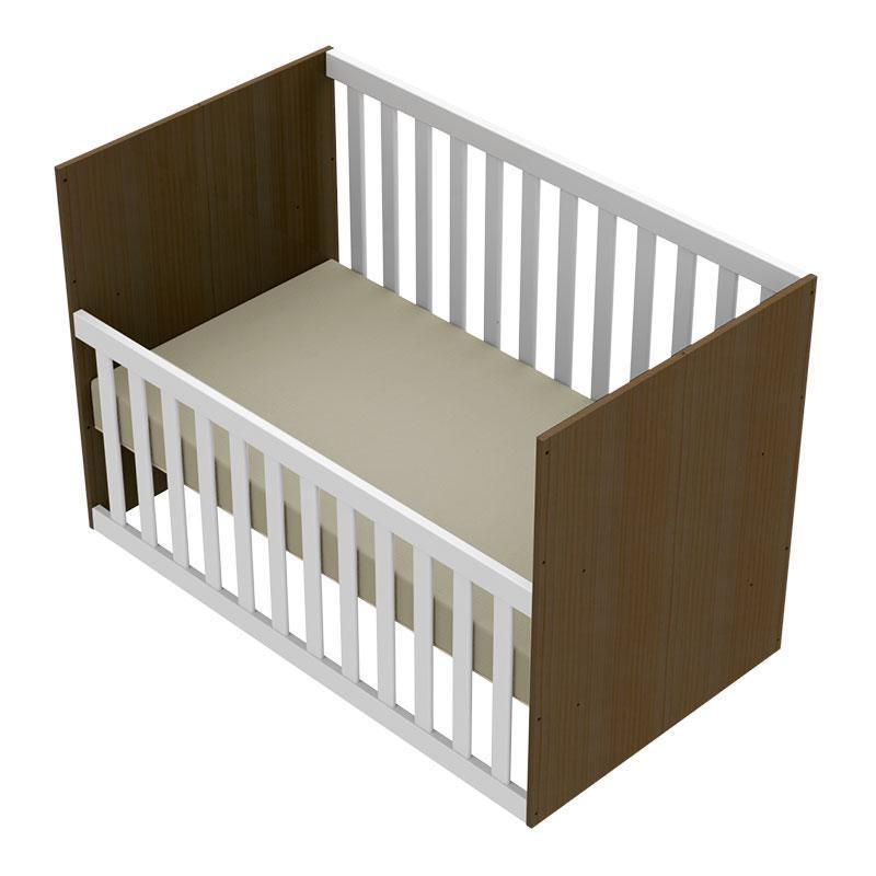 Quarto de Bebê com Gaveteiro Ariel e Berço Gabi Branco Acetinado Amadeirado - Carolina