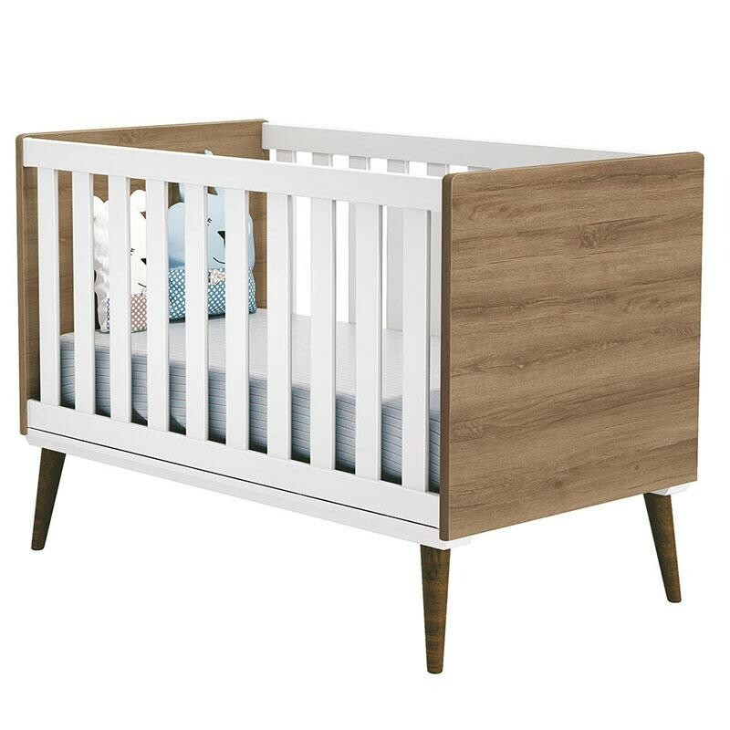 Quarto de Bebê Completo Theo Cômoda com Porta Branco Acetinado e Mezzo Castani - Reller
