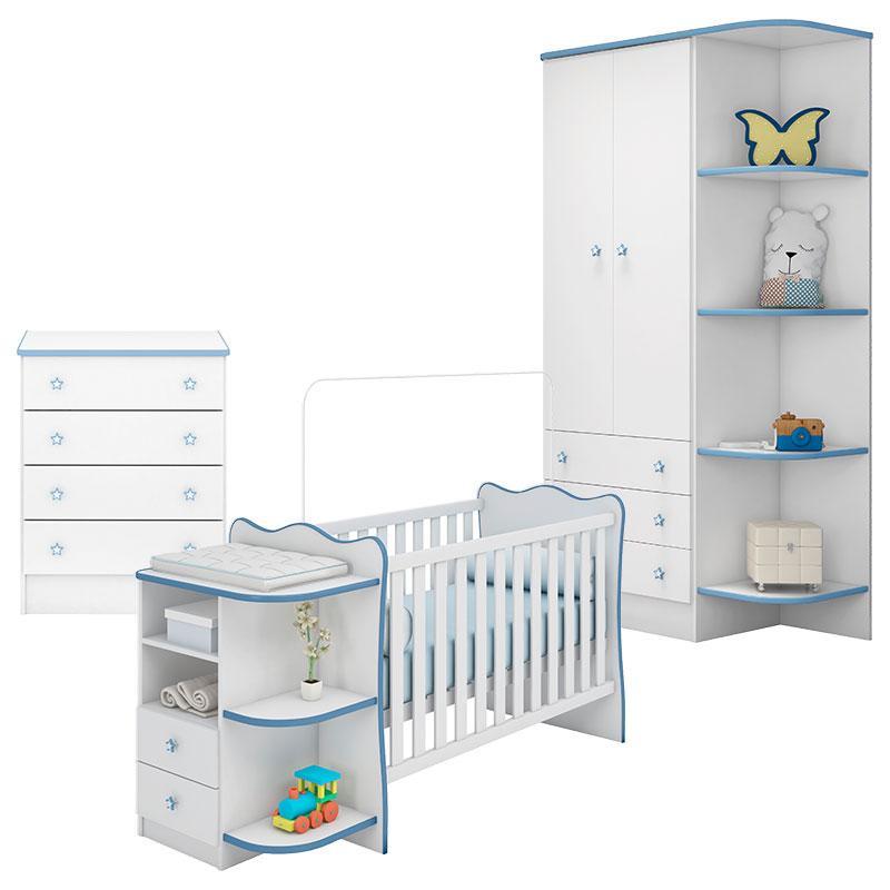 Quarto de Bebê Doce Sonho 105 com Cômoda 103 e Berço Cantoneira Rodízio 101 Branco Azul Brilho - Qmovi
