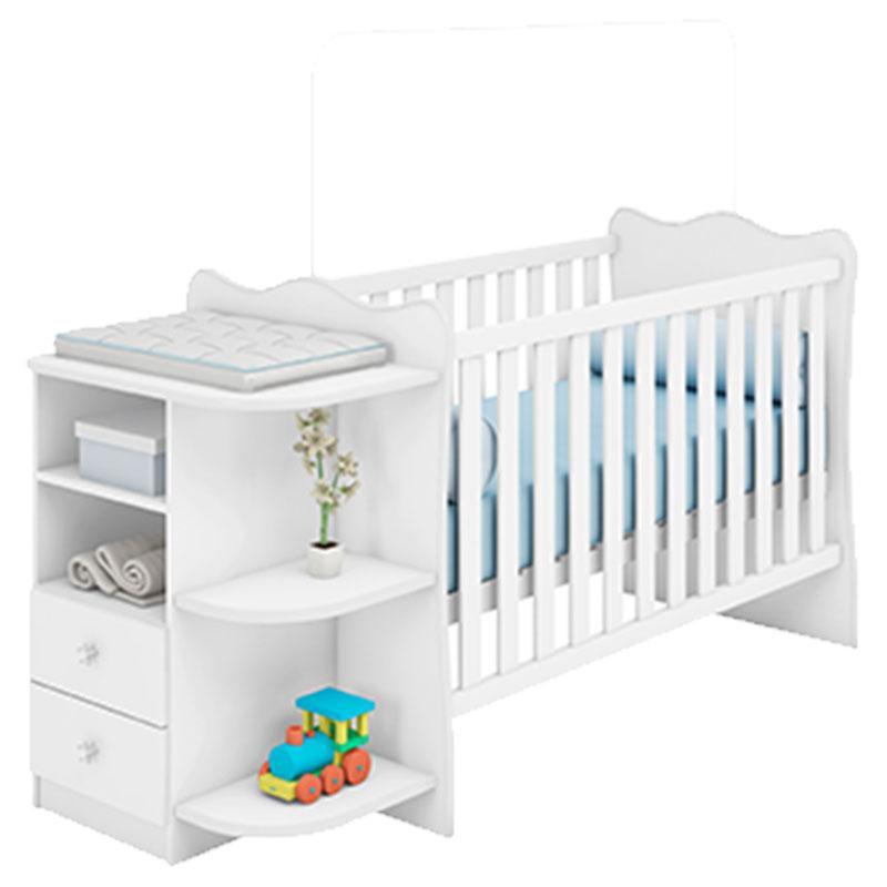Quarto de Bebê Doce Sonho 105 com Cômoda 103 e Berço Cantoneira Rodízio 101 Branco Brilho - Qmovi