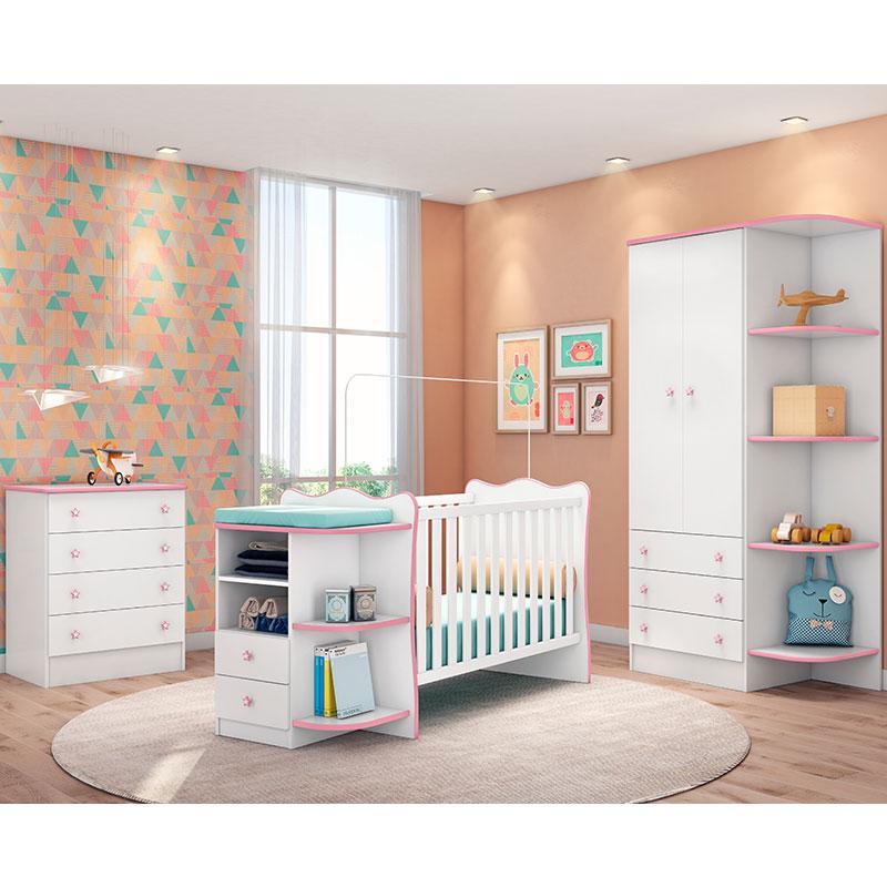 Quarto de Bebê Doce Sonho 105 com Cômoda 103 e Berço Cantoneira Rodízio 101 Branco Rosa Brilho - Qmovi