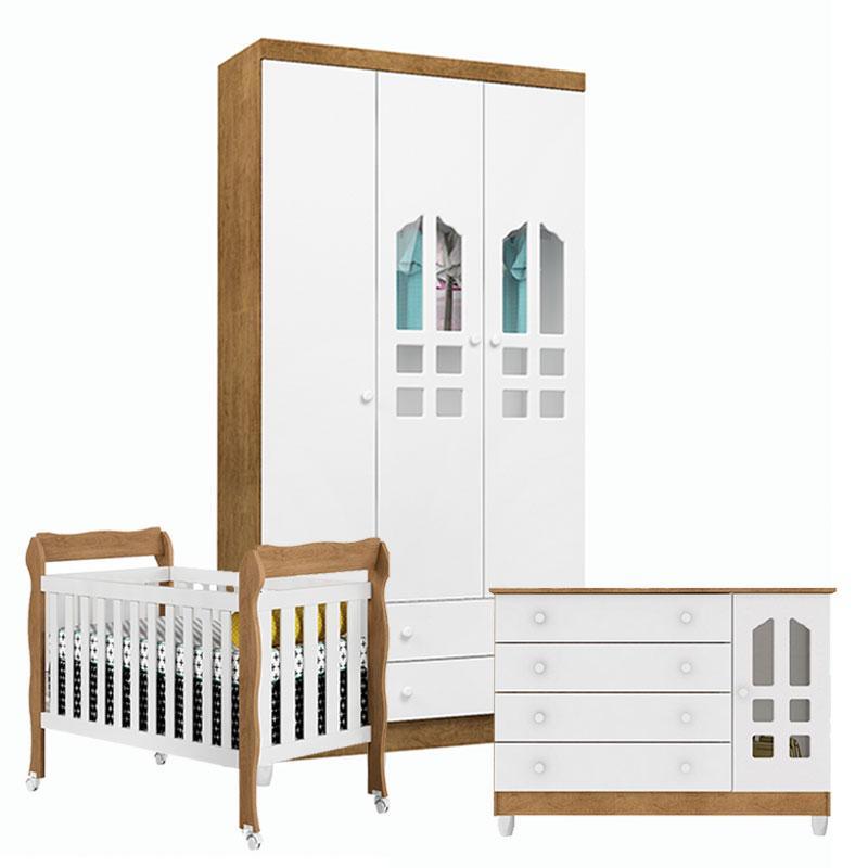 Quarto de bebê Gran Selena 3 Portas com Berço Lila Branco Acetinado Amadeirado - Carolina
