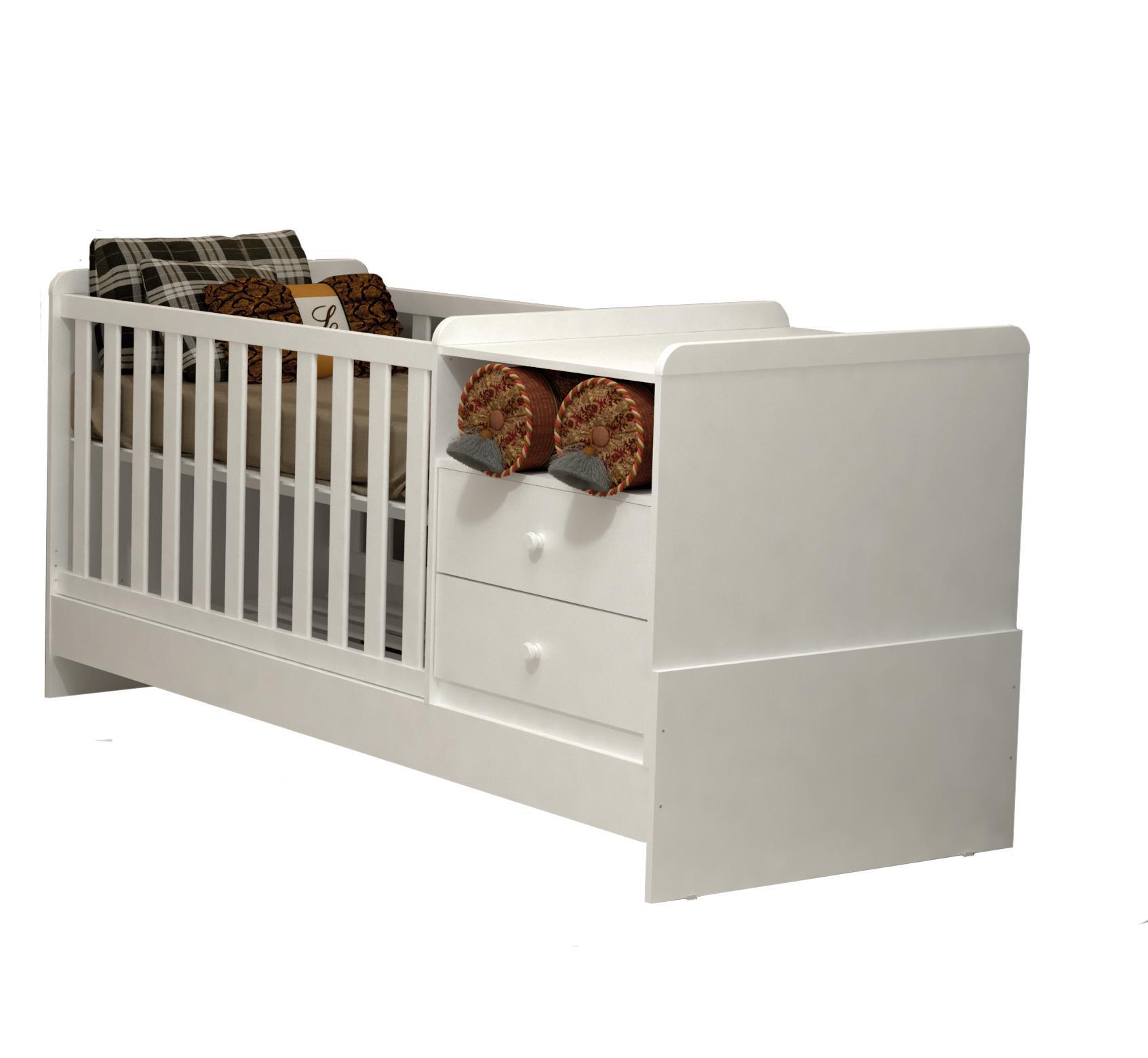 Quarto de Bebê Gran Selena 3 Portas com Berço Multifuncional Branco Brilho - Carolina