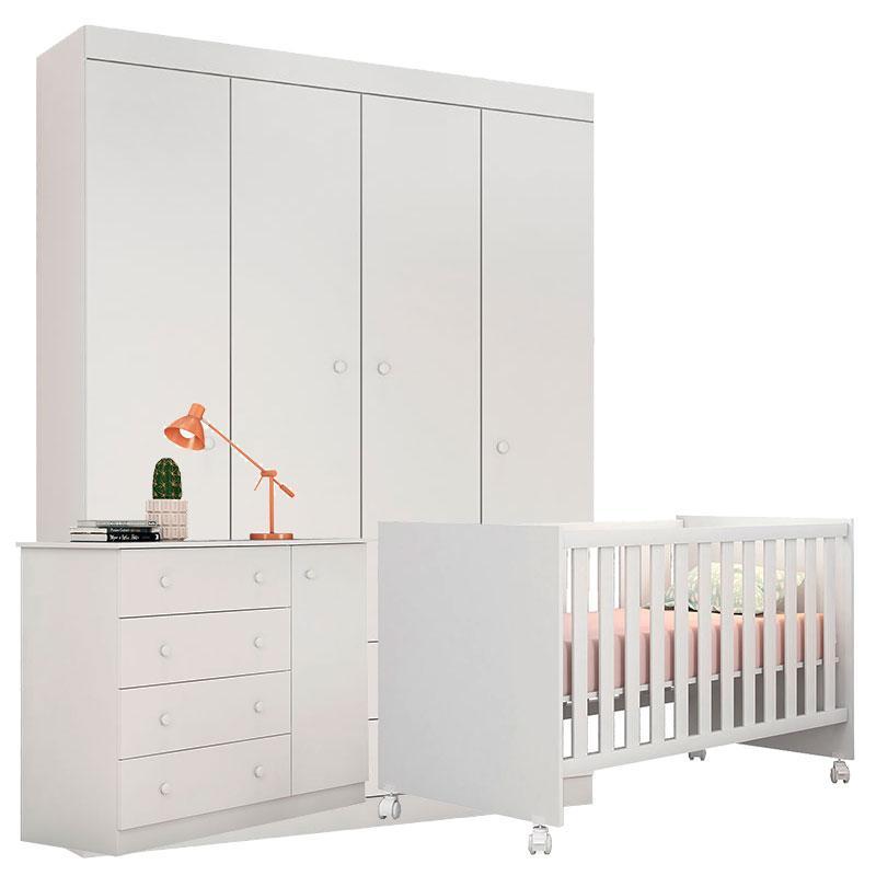 Quarto de Bebê Helena com Berço Doce Sonho Branco Brilho - Phoenix