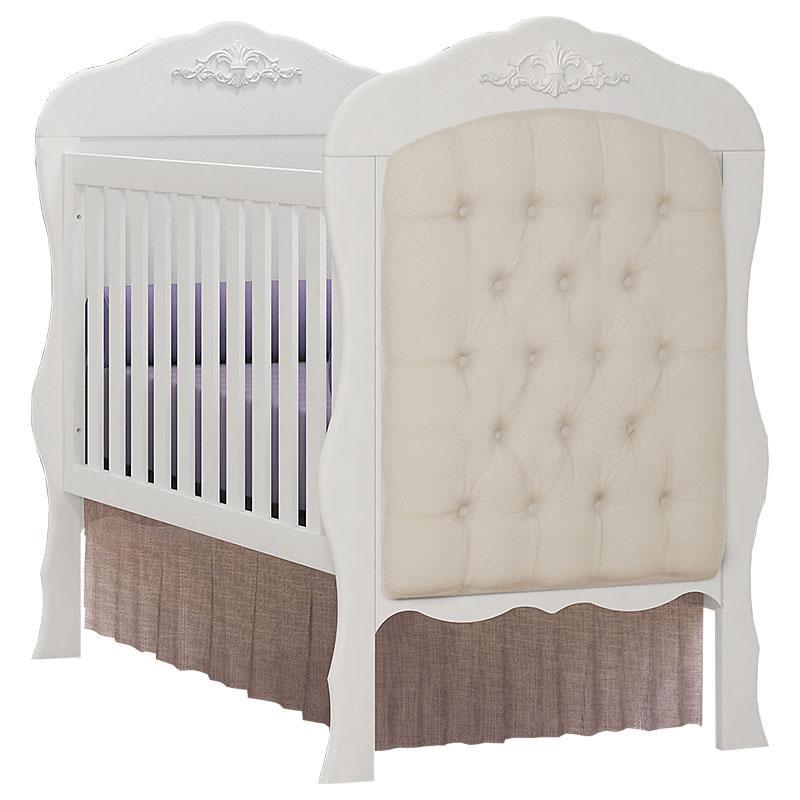 Quarto de Bebê Imperial 4 Portas com Berço Americano Realeza Branco Acetinado com Capitonê e Colchão - Canaã