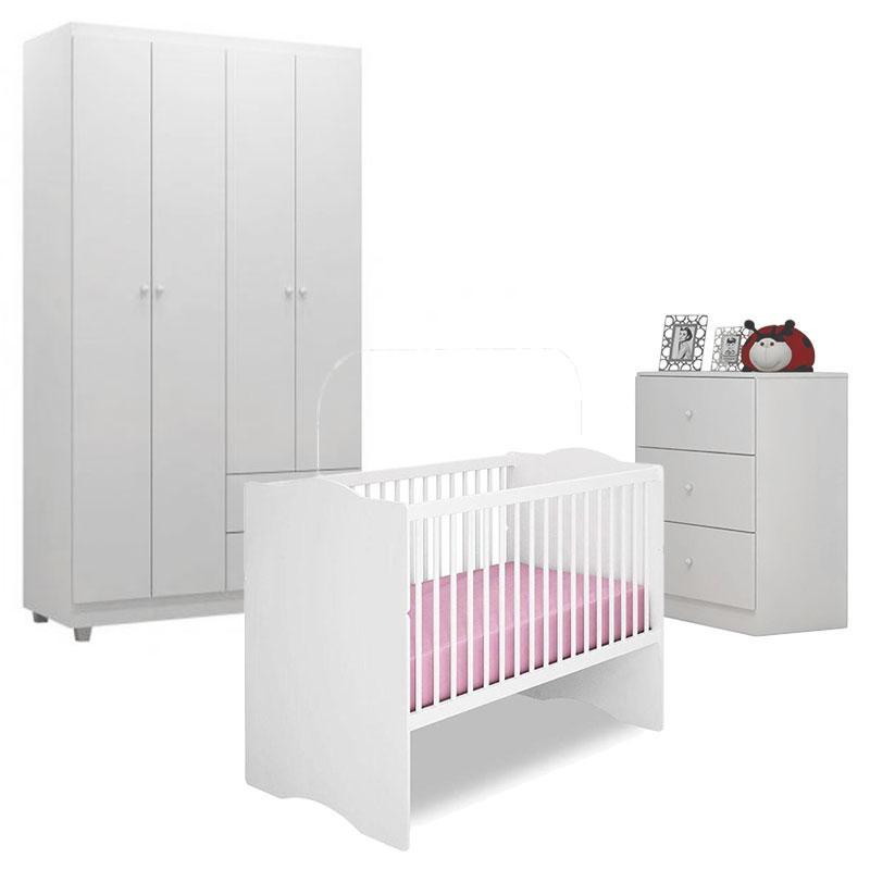 Quarto de Bebê Louise 4 Portas com Berço Alegria Branco Brilho - AJL