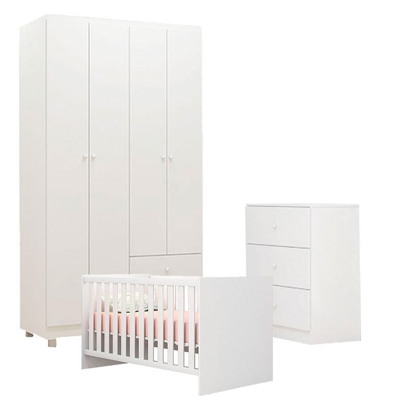 Quarto de Bebê Louise 4 Portas com Berço Doce Sonho 100 Branco Brilho - AJL