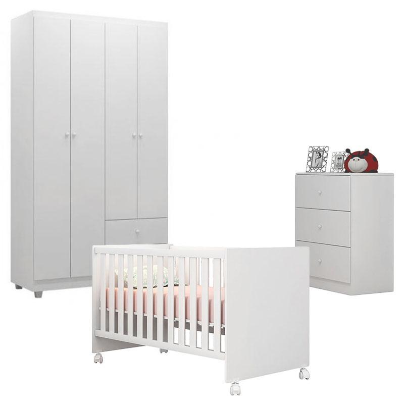 Quarto de Bebê Louise 4 Portas com Berço Doce Sonho 100 Rodízio Branco Brilho - AJL